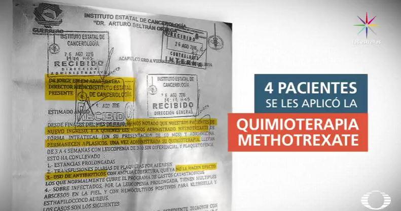 Documento que alerta sobre riesgo de methotrexate en Guerrero (Noticieros Televisa)