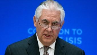 El secretario de Estado de Estados Unidos, Rex Tillerson, durante la reunión de la coalición para derrotar al Estados Islámico.