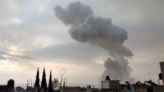 Se registró una explosión de priotecnía en Tultepec. (@Mario_Roban)
