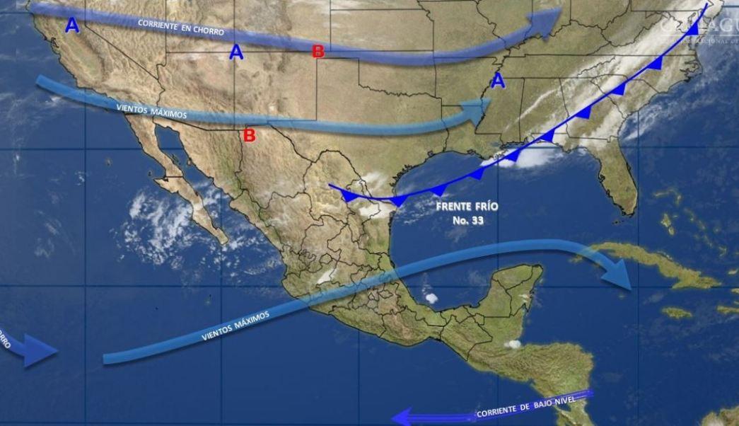 Mapa con el pronóstico del clima para este 8 de marzo; el frente frío 33 se mantiene en el noreste del país. (SMN)