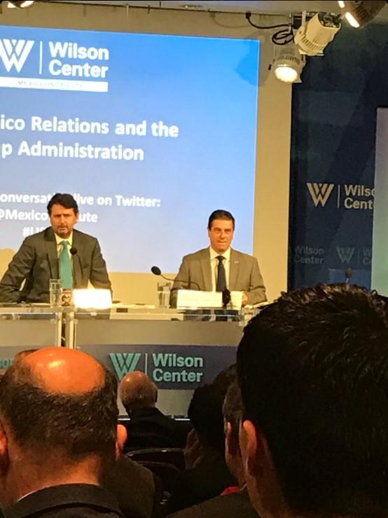 Gerónimo Gutiérrez, embajador de México en Estados Unidos, participa en un evento organizado por el Wilson Center. (Twitter @MexicoInstitute)