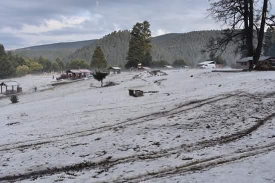 Cae granizo en la zona de La Marquesa, entre los kilómetros 32 y 36 de la carretera México-Toluca (Twitter @HugoD_Garces)