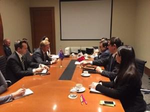 Ildefonso Guajardo, secretario de Economía de México, en reunión de trabajo con Todd McClay, ministro de Comercio de Nueva Zelanda. (Twitter, @A_delPacifico)