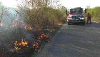 Incendio forestal en terreno baldío en carretera al ejido Lucio Blanco km 8, Linares. N.L. (Twitter @BomberosNL)