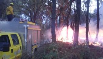 Tres helicópteros del estado de Morelos y del Edomex apoyan las labores para sofocar el incendio. (Twitter @CONAFOR)