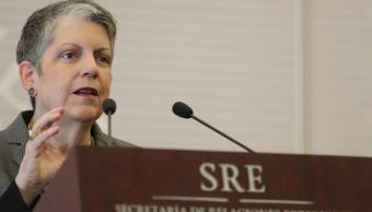 Janet Napolitano, presidenta de la Universidad de California, habló durante un foro realizado aquí en México. (@CarlosMSada)