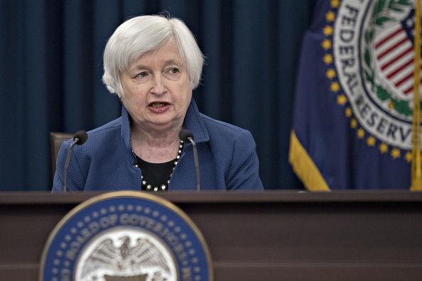 Janet Yellen, titular de la Reserva Federal, en conferencia de prensa tras la decisión de política monetaria. (Getty Images)