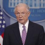 Jeff Sessions, fiscal general de Estados Unidos, durante una rueda de prensa en la Casa Blanca. (AP)