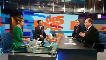 Los consejeros electorales Marco Baños y Ciro Murayama en la mesa de Despierta con Loret. (Twitter, @NTelevisa_cpm)