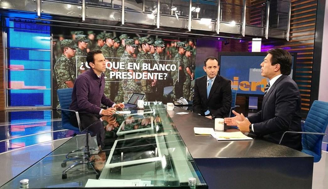 Los senadores Mario Delgado y Roberto Gil Zuarth en la mesa de Despierta con Loret. (Twitter, @NTelevisa_com)