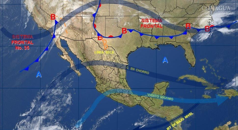 Mapa con el pronóstico del clima para este 22 de marzo; un nuevo frente frío ingresará a México. (SMN)