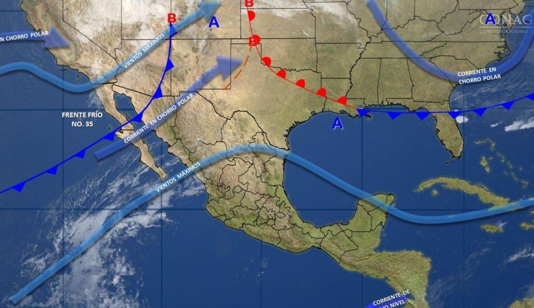 Mapa con el pronóstico del clima para este 23 de marzo; frente frío 35 se extenderá sobre el noroeste y norte de México. (SMN)