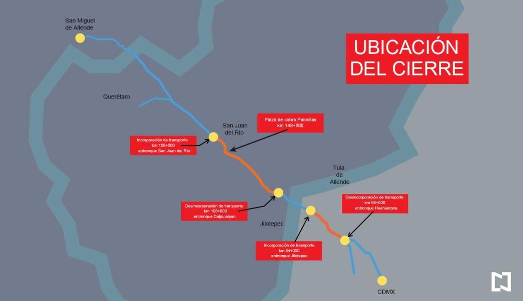 Mapa con la ubicación de los cierres en la autopista México-Querétaro. (Noticieros Televisa)