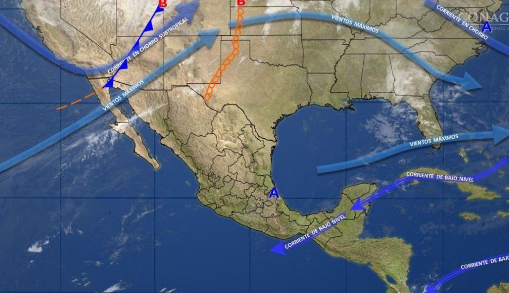 Mapa con el pronóstico del clima para este 6 de marzo; nuevo frente frío provocará lluvias en el país. (SMN)