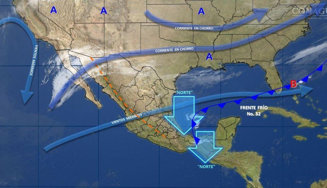 Mapa con el pronóstico del clima para este 3 de marzo; el frente frío 32 causará lluvias en gran parte del país. (SMN)