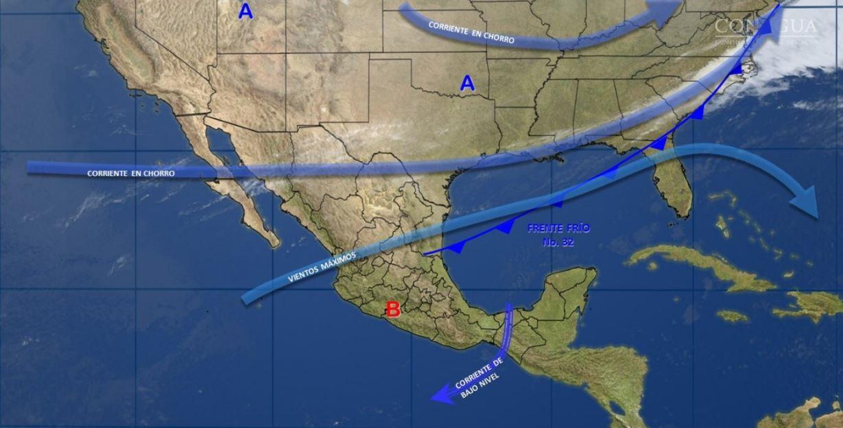 Mapa con el pronóstico del clima para este 2 de marzo; prevén tormentas en Puebla, Veracruz y Oaxaca. (SMN)