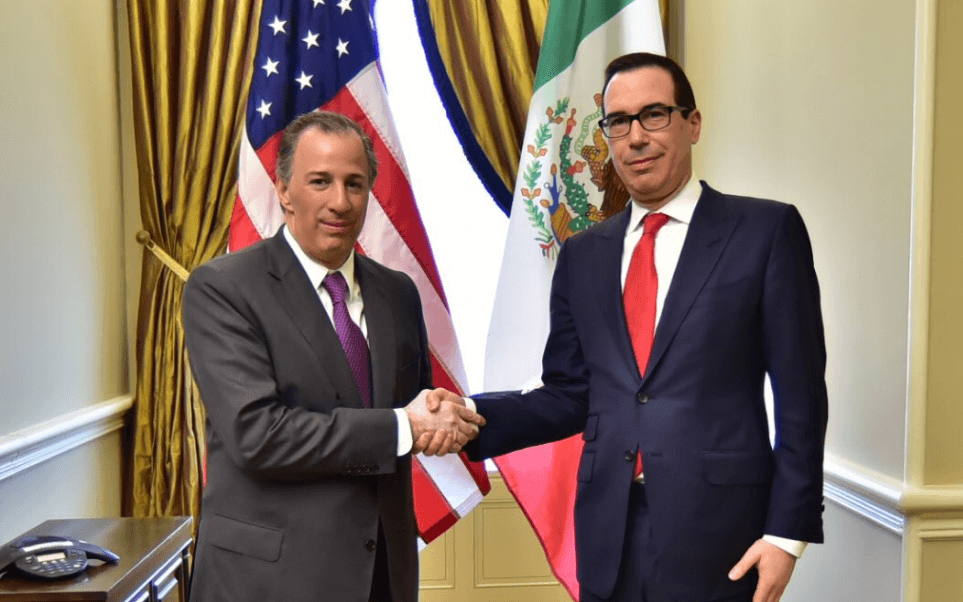 El secretario de Hacienda destacó ante Mnuchin la importancia de impulsar una economía mexicana fuerte y una Norteamérica competitiva y próspera. (@JoseAMeadeK)