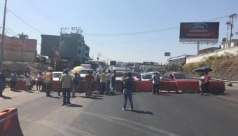 Bloqueo en la Autopista del Sol, a la altura de Conalep y Tabachines (Facebook- PC Morelos)