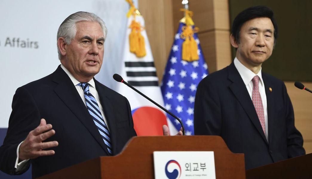 El jefe de la diplomacia estadounidense habló en rueda de prensa con su homólogo surcoreano, Yun Byung-se