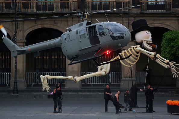 Aspectos de la filmación de Spectre en la Ciudad de México. (Getty images, archivo)