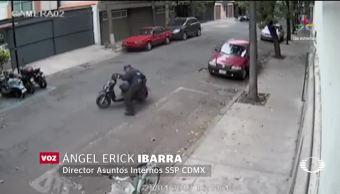 Policía, CDMX, Venganza, Video, Mueve motocicleta, Redes Sociales