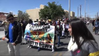 'Caravana Contra el Miedo, Manifestacion, Llega, El Paso Texas, EU, Muro,
