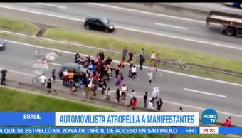Automovilista, Atropella, Manifestantes, Sao Paulo Brasil, Arrolla, Rio de Janeiro