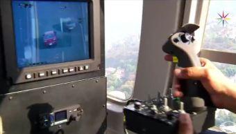 Cámara de alta tecnología israelí instalada en el helicóptero Cóndor de la SSPCDMX. (Noticieros Televisa)