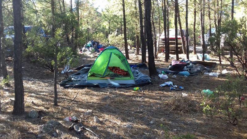 El campamento fue ubicado a dos kilómetros de la brecha que conduce a la comunidad Talayotes. (Fiscalía de Chihuahua)