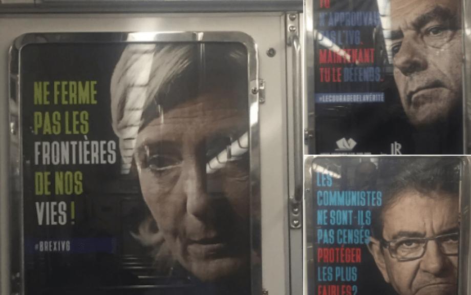 Carteles antiabortistas en el metro de París. (http://www.leparisien.fr)
