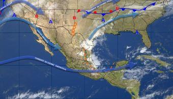 Mapa con el pronóstico del clima para este 18 de abril; seguirán las tormentas con caída de granizo en México. (SMN)