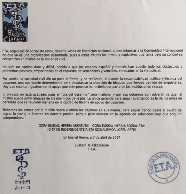 Comunicado del desarme de ETA.