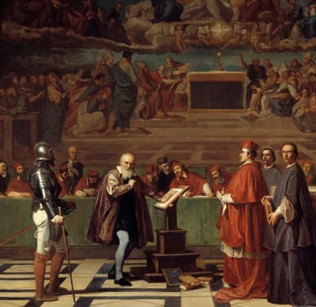 Galileo Galilei ante el Santo Oficio en el Vaticano. El astrónomo fue condenado por el Tribunal de la Inquisición por haber defendido las teorías de Copérnico. La pintura fue realizada por Robert Fleury (Getty Images)