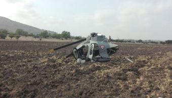 Helicóptero que se desplomó en Huehuetoca, Edomex (Twitter @luismiguelbaraa)