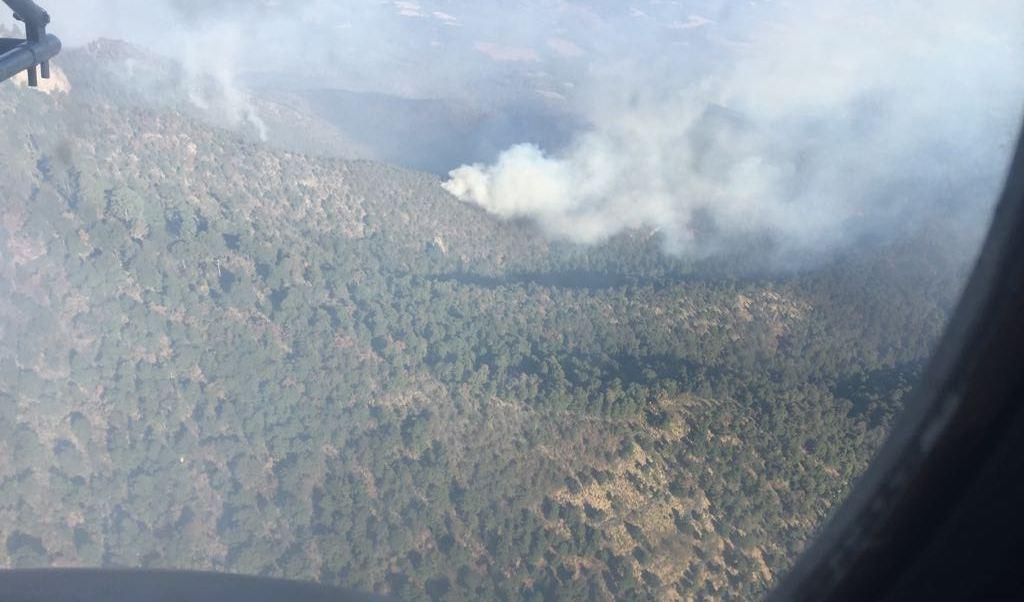 Incendio forestal en Texcoco. (Twitter @Conafor)