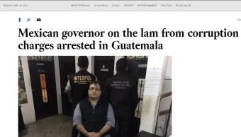 La prensa estadunidense reportó ampliamente este domingo la detención de Javier Duarte (Los Angeles Post)