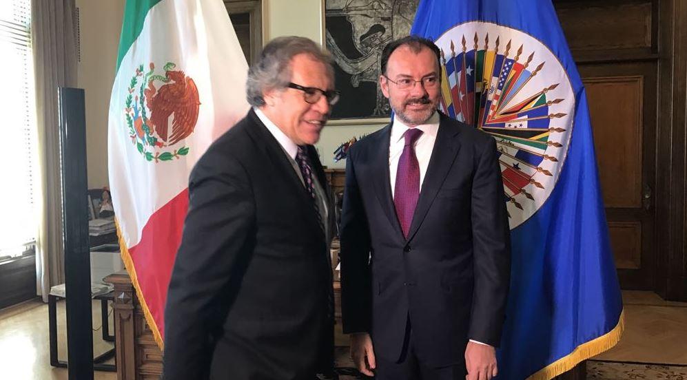 Luis Almagro, secretario general de la OEA, y Luis Videgaray, canciller de México, se reúnen en Washington, D.C. (Twitter @SRE_mx)