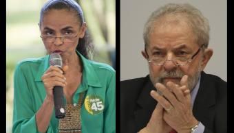 Marina Silva (i) y Lula da Silva (d), favoritos para las elecciones en Brasil. (Especial)