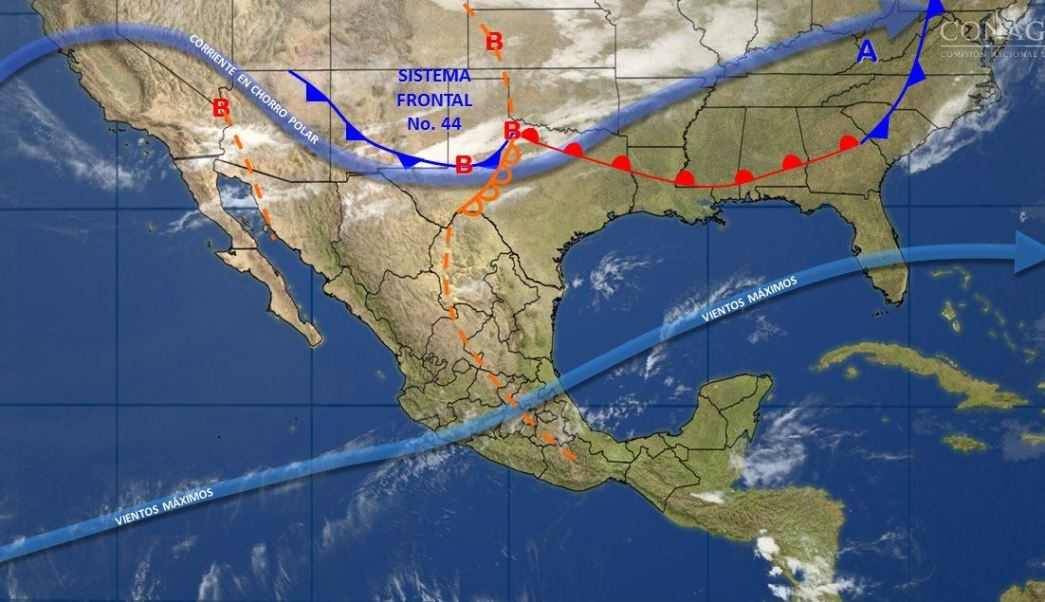 Mapa con el pronostico del clima para este 28 de abril