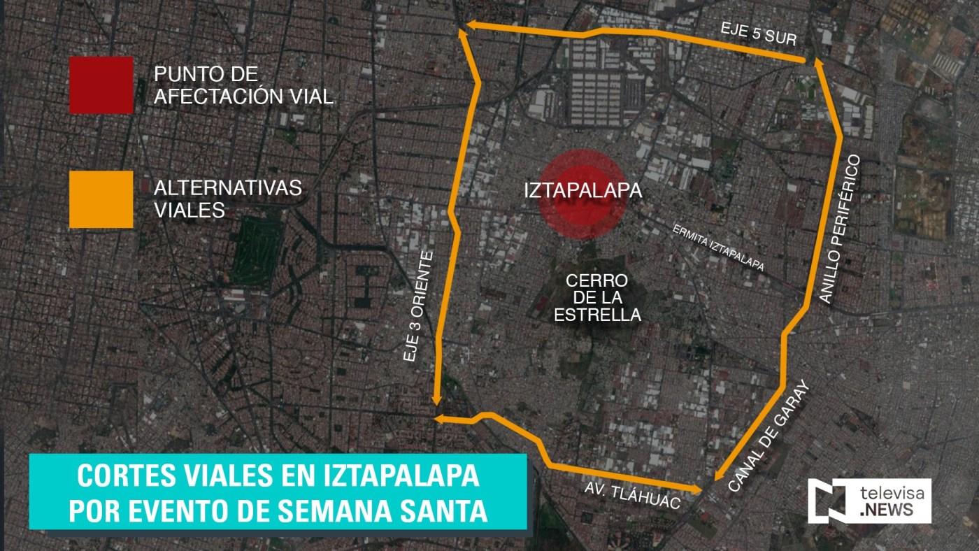 Mapa de cortes viales en Iztapalapa. (Noticieros Televisa)