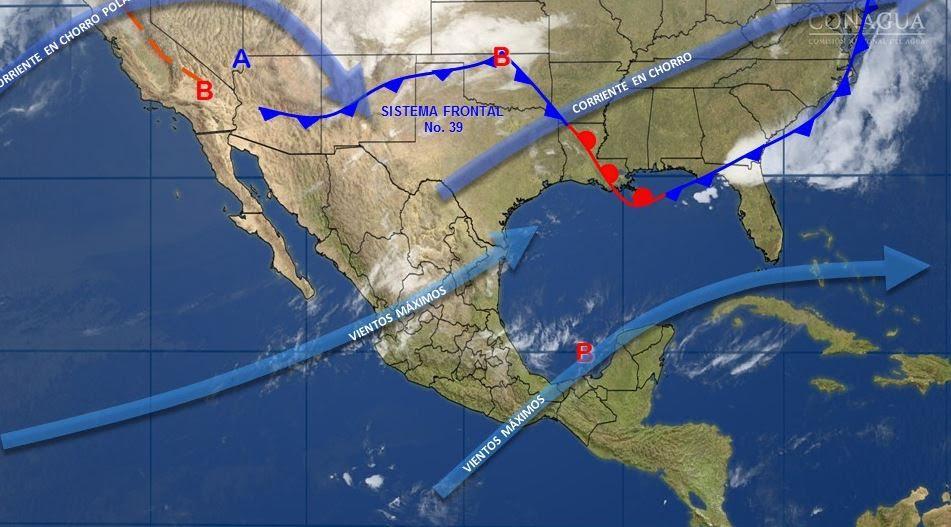 Mapa con el pronóstico del clima para este 4 de abril; frente frío 39 provocará vientos fuertes en el norte de México. (SMN)
