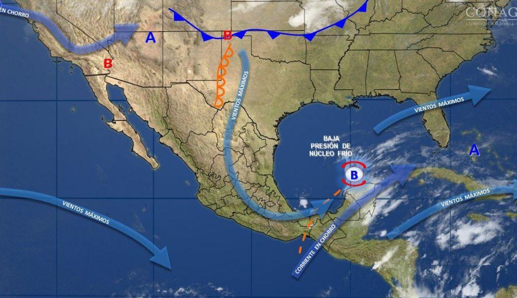 Mapa con el pronóstico del clima para este 20 de abril; baja presión provocará tormentas en el sur y sureste de México. (SMN)