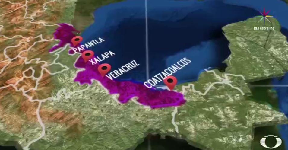 Mapa que señala los municipios con mayor número de homicidios dolosos en Veracruz (Noticieros Televisa)