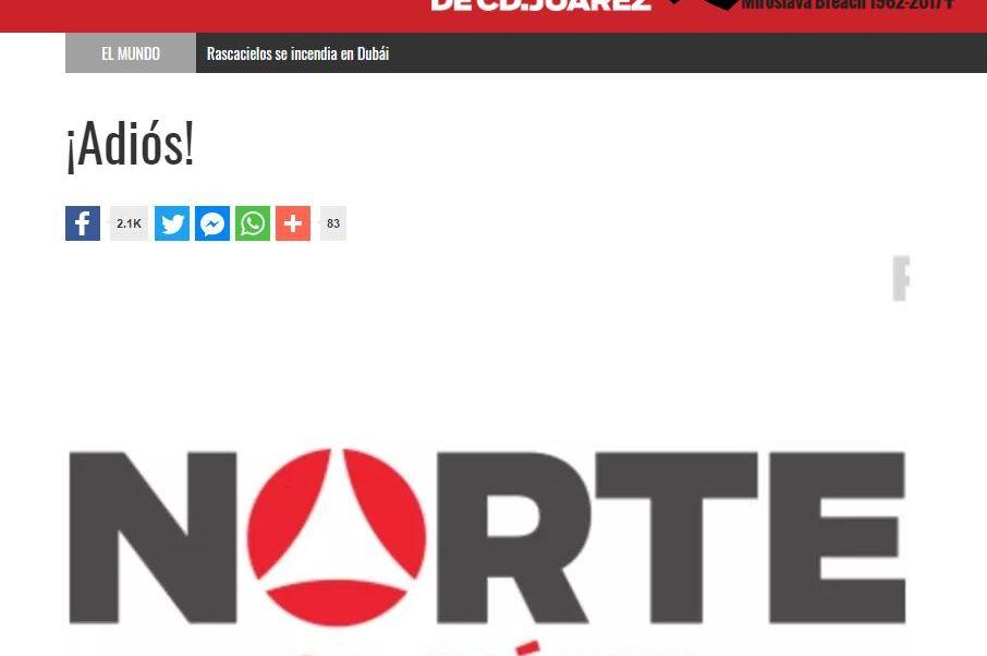 En su portal de Internet, el diario explicó las causas para detener su edición impresa (Norte de Ciudad Juárez)