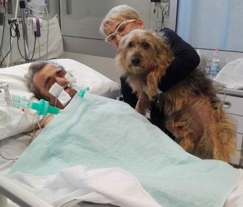 Giovanni permaneció varias semanas en coma, pero al recibir la visita de su mejor amiga, una perrita llamada 'Nancy' esto sorprendió a los médicos al ayudarle en su recuperación (Foto: Deborah Del Sere/Facebook)