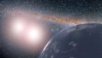 La ilustración muestra un planeta hipotético cubierto en agua alrededor del sistema binario de la estrella de Kepler-35A y B (Foto: Nasa)
