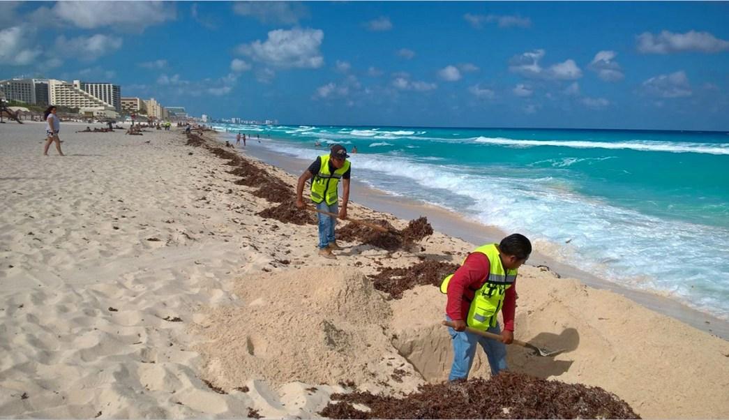 Trabajadores limpian arena en Cancún; la SCT informa que habrá vigilancia permanente en playas durante las vacaciones de Semana Santa (NTX, arhcivo)