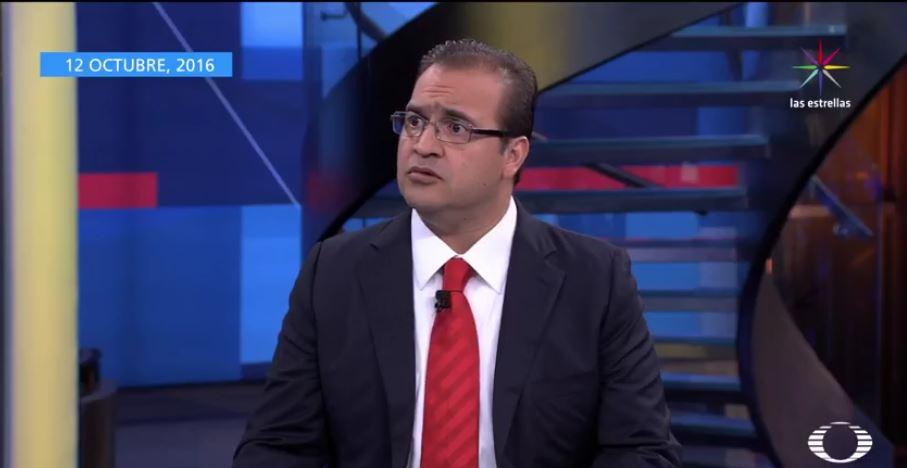 Ruta de escape de Javier Duarte. El exgobernador el 12 de octubre en Despierta con Loret. (Noticieros Televisa)