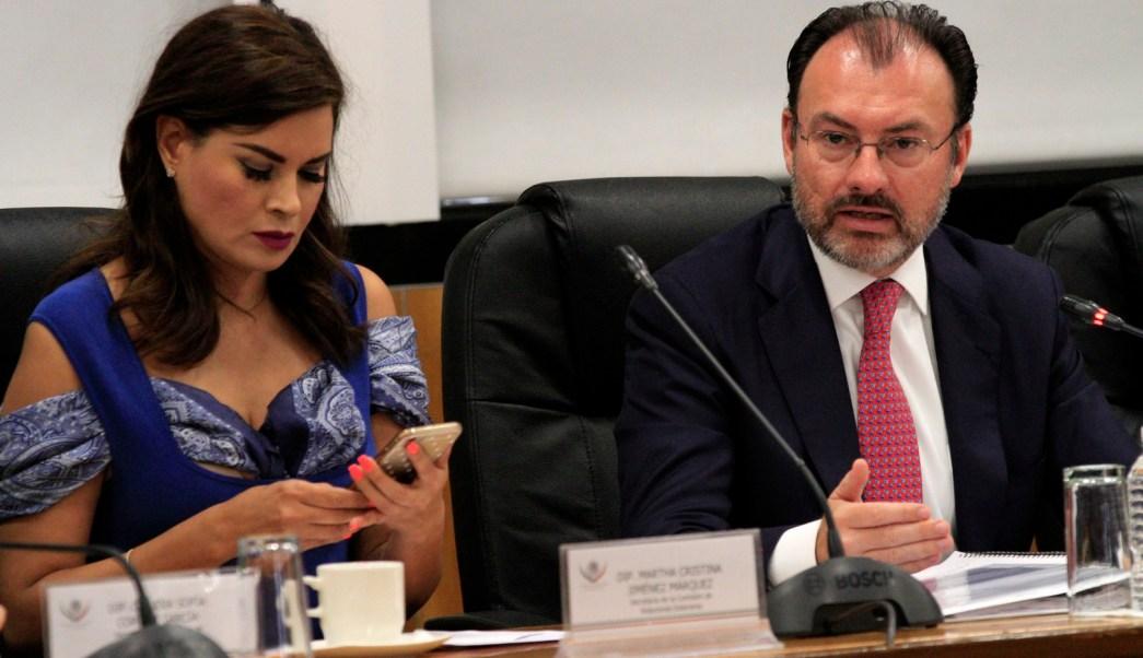 Luis Videgaray durante su comparecencia ante la Comisión de Relaciones Exteriores de la Cámara de Diputados. (Notimex)