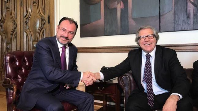 La mañana de este miércoles, el secretario de Relaciones Exteriores, Luis Videgaray, se reunió con Luis Almagro, secretario general de la Organización de los Estados Americanos (OEA). (Notimex)